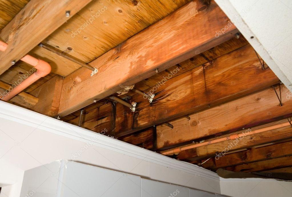 water leak in wooden rafters