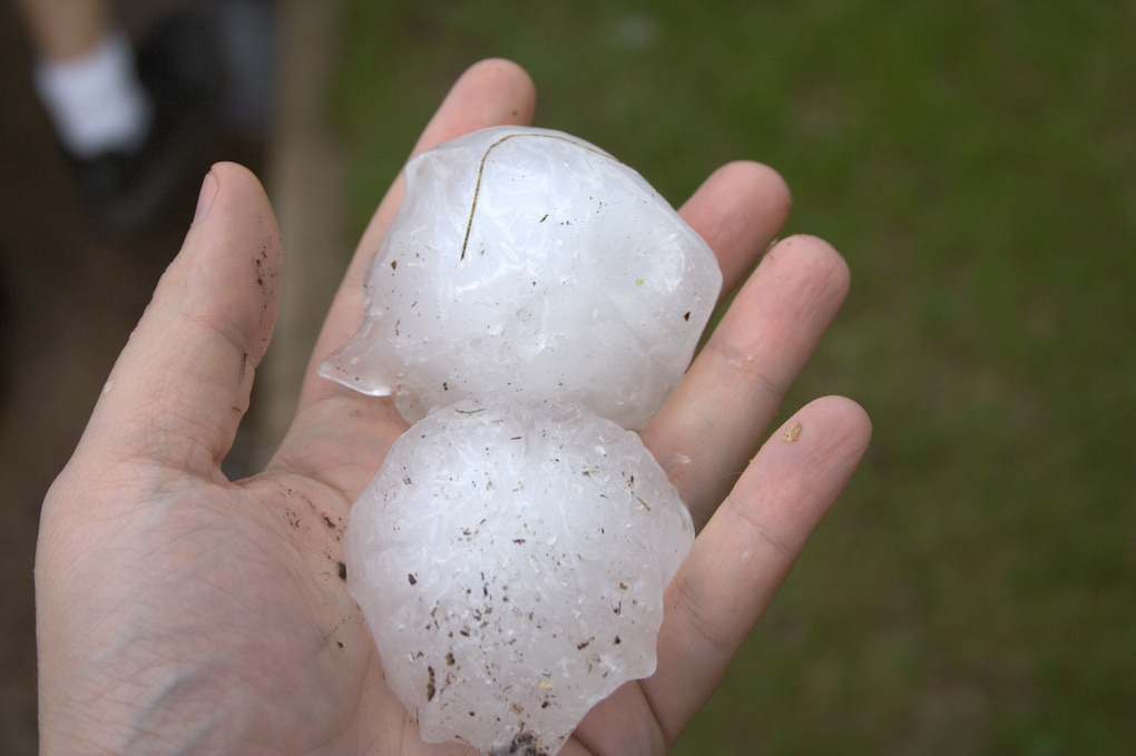 hand holding large pieces of hail that cause hail damage