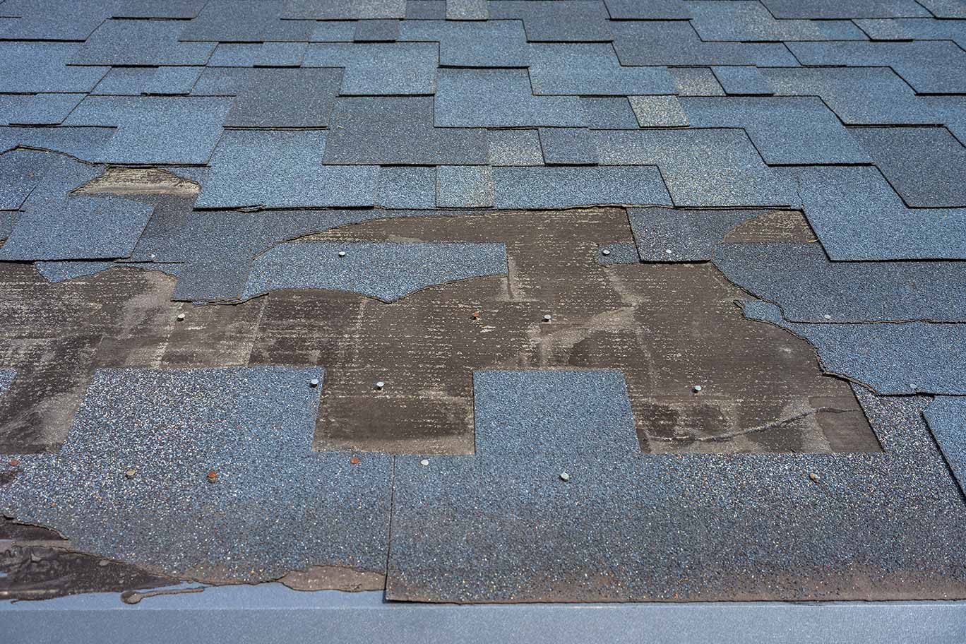 damaged and missing shingles