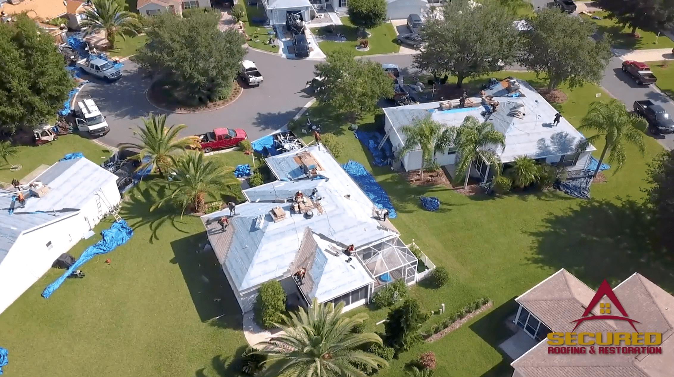 aerial view of roof repair