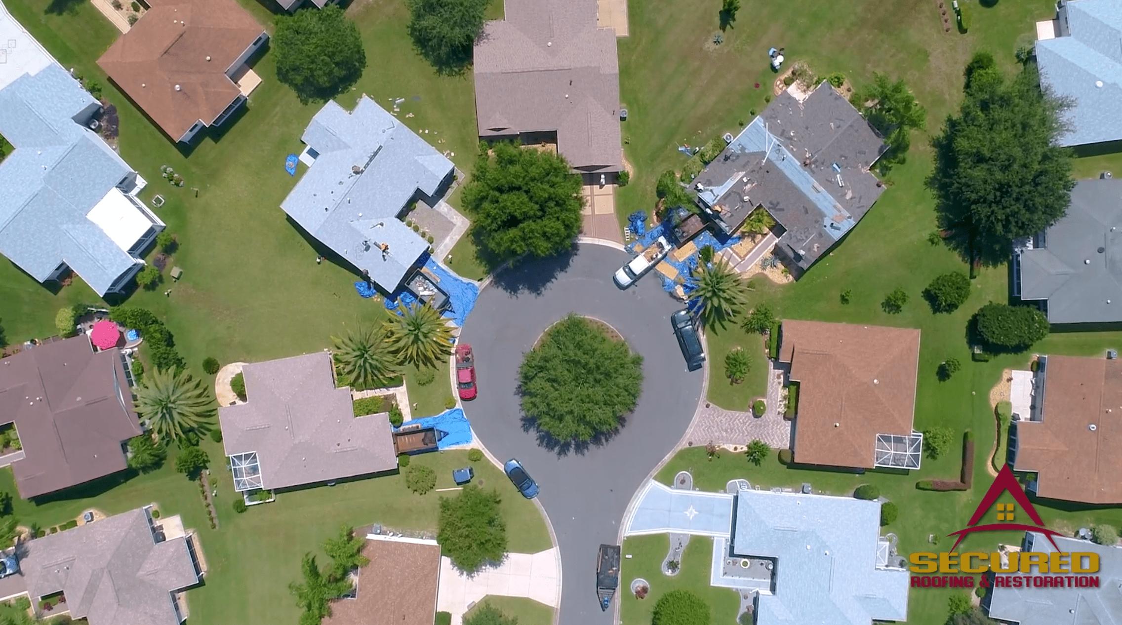 aerial view of circular culdesac