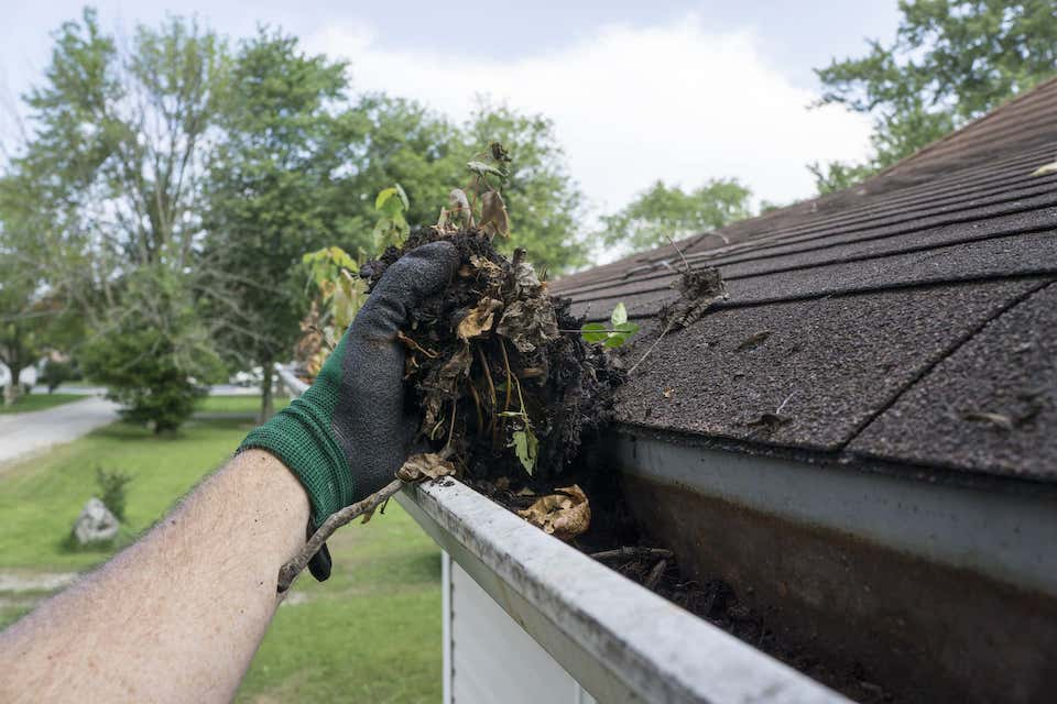 mans arm cleaning out debris from roof gutter; 8 valuable roof maintenance tips